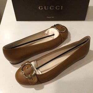 ❤️New Gucci Tan GG Buckle leather pump 9 or 9.5 10